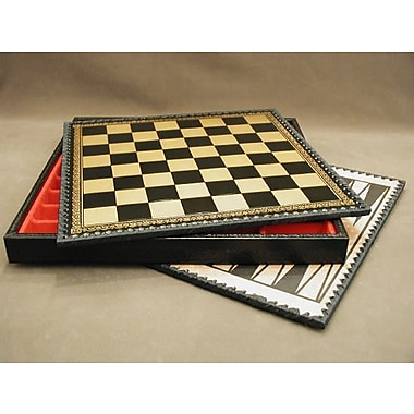 Ital Fama 14'' Pressed Leather Chest Chess Board in Black / Gold