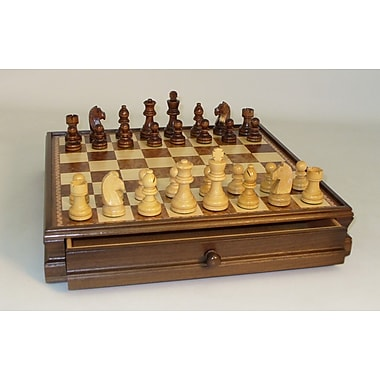 WorldWise Chess Wood Inlaid Chest and Men Chess Set