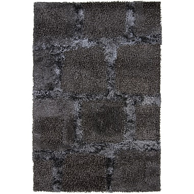 Chandra Areva Shag Black Area Rug; 7'9'' x 10'6''