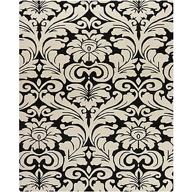 Chandra Hanu Black/Beige Floral Area Rug; 6' x 9'