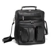 Le Donne Leather I-Pad/Tablet Organizer Satchel Bag; Black
