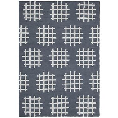 Chandra Lima Charcoal/White Abstract Rug; 5' x 7'