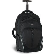 J World Dickens Rolling Backpack with Detachable Daypack; Black