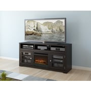 dCOR design West Lake 60'' TV Stand with Electric Fireplace; Warm Black