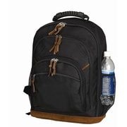 Preferred Nation Leathered Bottom Backpack; Black