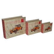 Cheungs 3 Piece Lined Keepsake Book Box w/ Carte Postal Design and Olde Time Car Set