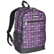 Everest Compartment Casual Backpack; Purple Black Plaid