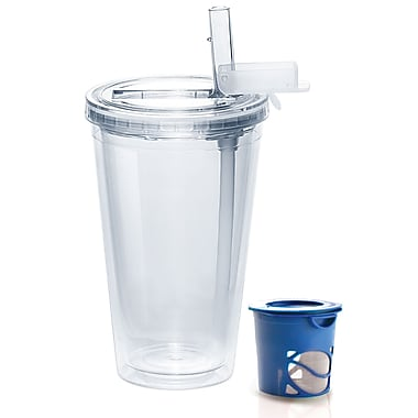 AdNArt Ice Tea Insulated Tumbler; Clear / Blue