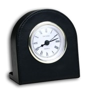 Dacasso 1000 Series Classic Leather Clock w/ Gold Insert in Black
