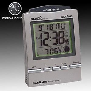 Datexx Radio Control Desk Alarm Clock with Calendar, Moon Phase