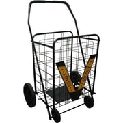 Trimmer 42'' Rolling Shopping Cart with Geometric Handle; Black