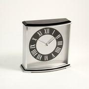 Bey-Berk ''Palm Springs'' Stainless Steel and Wood Desk Clock