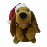 BZB Goods Singing Dog with Christmas Hat Musical Plush Toy with Motion