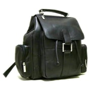 Le Donne Leather Multi Pocket Backpack; Black