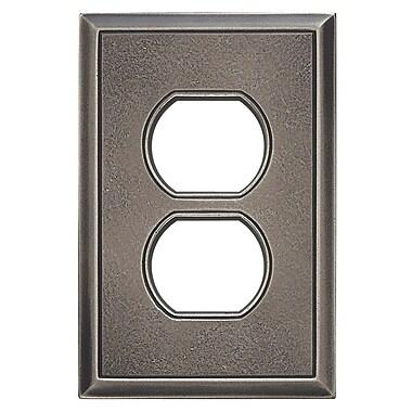 RQ Home Classic Magnetic Single Duplex Wall Plate; Timeworn Steel