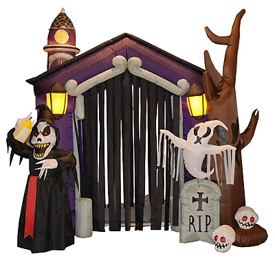 BZB Goods Halloween Inflatable Haunted House Castle with Skeletons