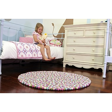 Walk On Me Happy as Larry Sorbet Felt Ball Kids Rug; Round 3'4''