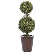 House of Silk Flowers Artificial Double Ball Topiary in Pot; Dark Copper Zinc