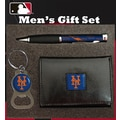 Team Sports America MLB PU Tri-fold Wallet Pen and Keychain Gift Set; New York Mets