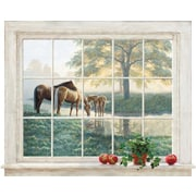 York Wallcoverings Portfolio II Trompe L Oiel Mare and Foal Framed Accent Wall Mural