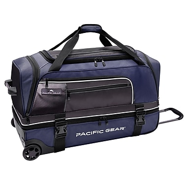 Pacific Gear 30'' Drop-Bottom Rolling Duffel Bag; Blue