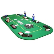 JP Commerce Texas Hold'em Folding Table Top with Cup Holders; Green