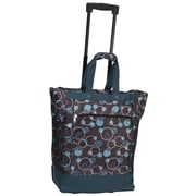 Everest Polka Dot Rolling Shopping Tote; Teal Blue/Blue Bubbles