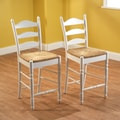 TMS 24'' Ladder Bar Stool (Set of 2); White
