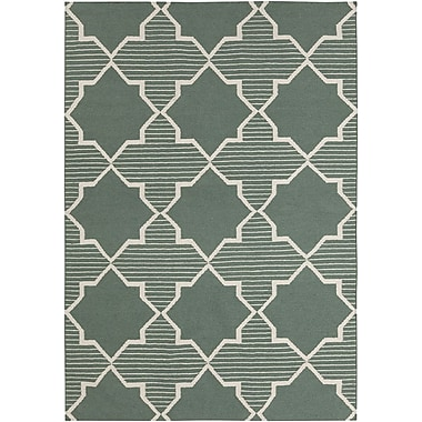 Chandra Lima Green/White Geometric Rug; 5' x 7'