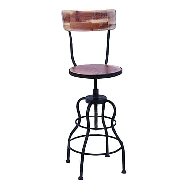 Woodland Imports Old Look Adjustable Height Barstool