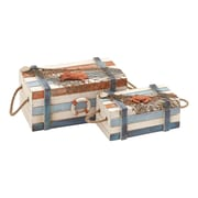 Woodland Imports Wood Box with Design and High Quality Wood (Set of 2)