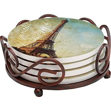 Thirstystone 5 Piece Golden Age of Paris Collegiate Coaster Gift Set