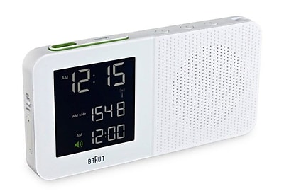 Braun Digital Alarm Clock Radio; White