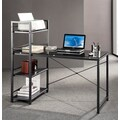 Techni Mobili Glass Top Computer Desk with 4-Shelf Metal Bookcase