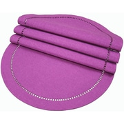 Xia Home Fashions Melrose Cutwork Hemstitch Placemat (Set of 4); Plum