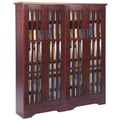 Leslie Dame Glass Door Double Multimedia Cabinet; Dark Cherry