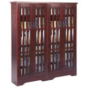Leslie Dame Glass Door Double Multimedia Cabinet; Dark Cherry
