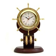 Bey-Berk Brass Ships Wheel Clock with Rope