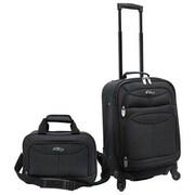 U.S. Traveler Fashion 2 Piece Carry-On Luggage Set; Charcoal