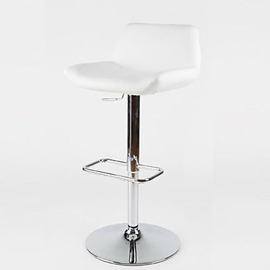 Whiteline Imports Maya Adjustable Bar Stool with Cushion; White