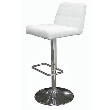 Whiteline Imports Karen Adjustable Height Swivel Bar Stool with Cushion; White