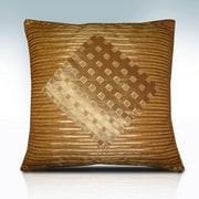 Melrose Home Stripes & Diamonds Pillow Shell; Gold / Coffee