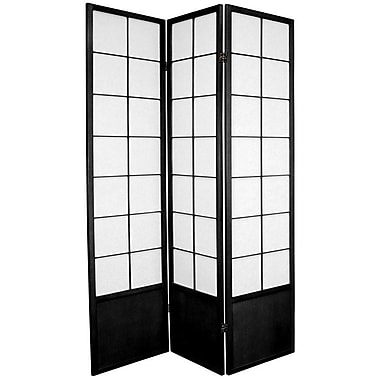 Oriental Furniture 70.25'' x 42'' Asian Zen 3 Panel Room Divider; Black
