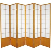 Oriental Furniture 70.25'' x 84'' Asian Zen 6 Panel Room Divider; Honey