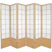 Oriental Furniture 70.25'' x 84'' Asian Zen 6 Panel Room Divider; Natural