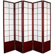 Oriental Furniture 70.25'' x 70'' Asian Zen 5 Panel Room Divider; Rosewood