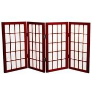 Oriental Furniture 26'' x 39'' Window Pane Shoji 4 Panel Room Divider; Rosewood