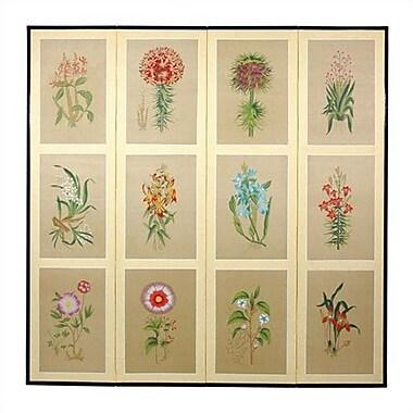 Oriental Furniture 72'' x 72'' Twelve Small Flowers Folding 4 Panel Room Divider