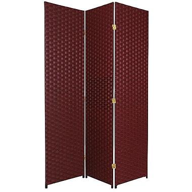 Oriental Furniture 70.75'' x 52.5'' 3 Panel Room Divider; Red / Black