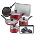 Farberware Non-Stick 15-Piece Cookware Set; Red